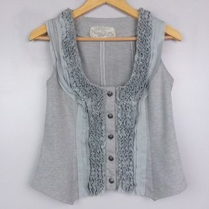 Nick & Mo Grey Ruffle Button Down Vest